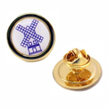 Superior Badge 16mm round gold clutch and printed dome